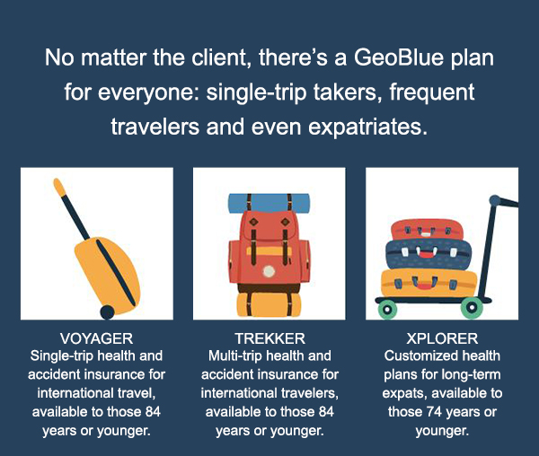 No matter the client, there's a GeoBlue plan for everyone: single-trip takers, frequent travelers and even expatriates.
